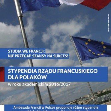 STYPENDIA RZĄDU FRANCUSKIEGO (BGF) 2016-2017